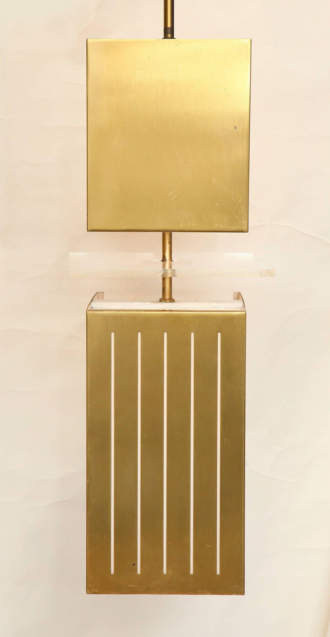 Pair of midcentury bronze square pendant lights pendant lighting