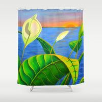 Shower Curtain Featuring Calla Lily Sunset By Jen Sinquefield