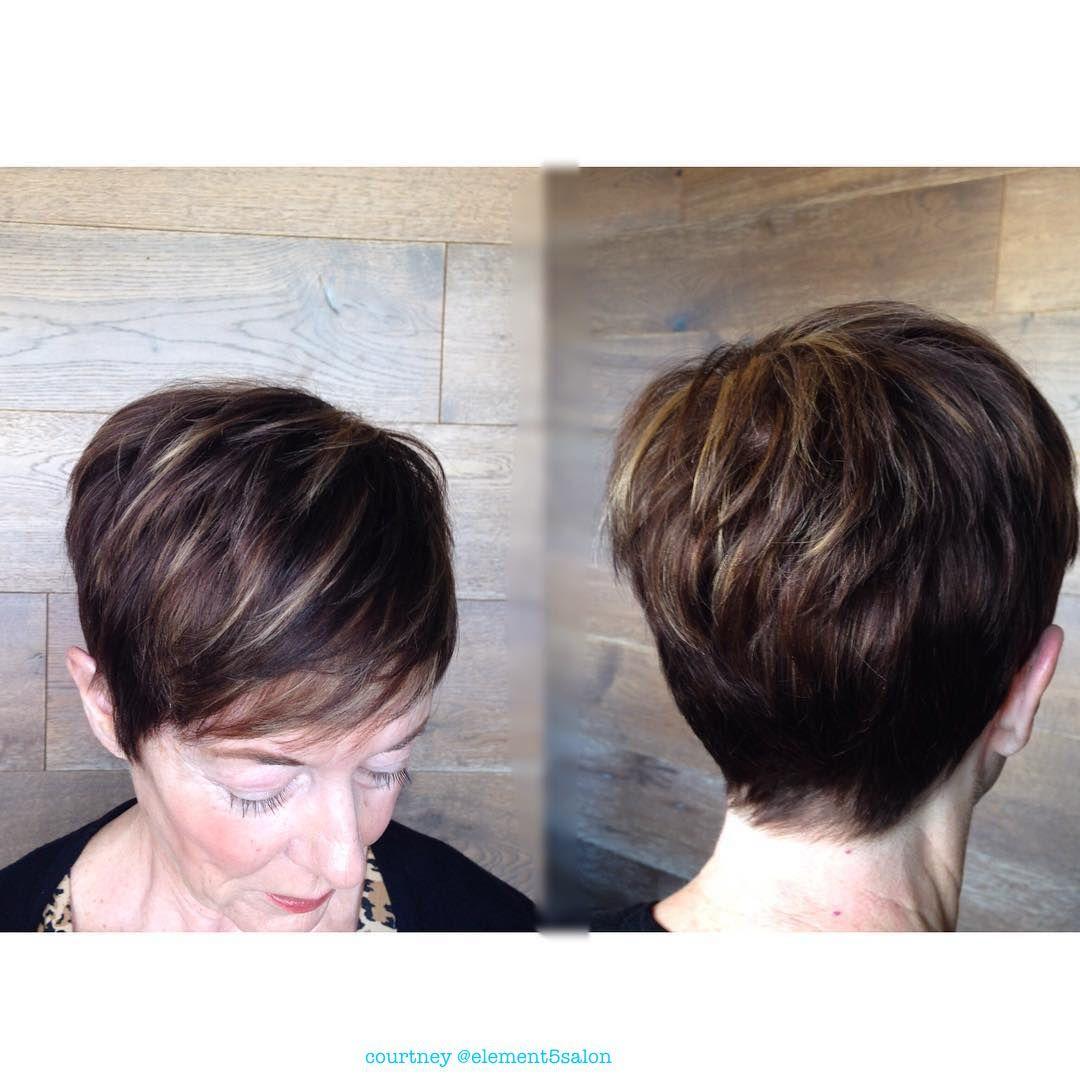 Short Textured Pixie Cut Dark Hair Light Blonde Caramel