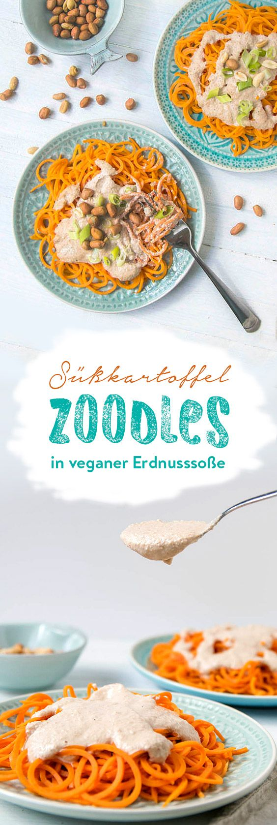 Photo of Zoodles with a creamy peanut sauce