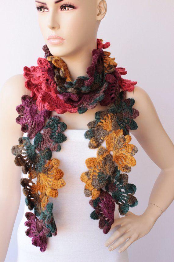 Crochet long woman scarf, gift idea