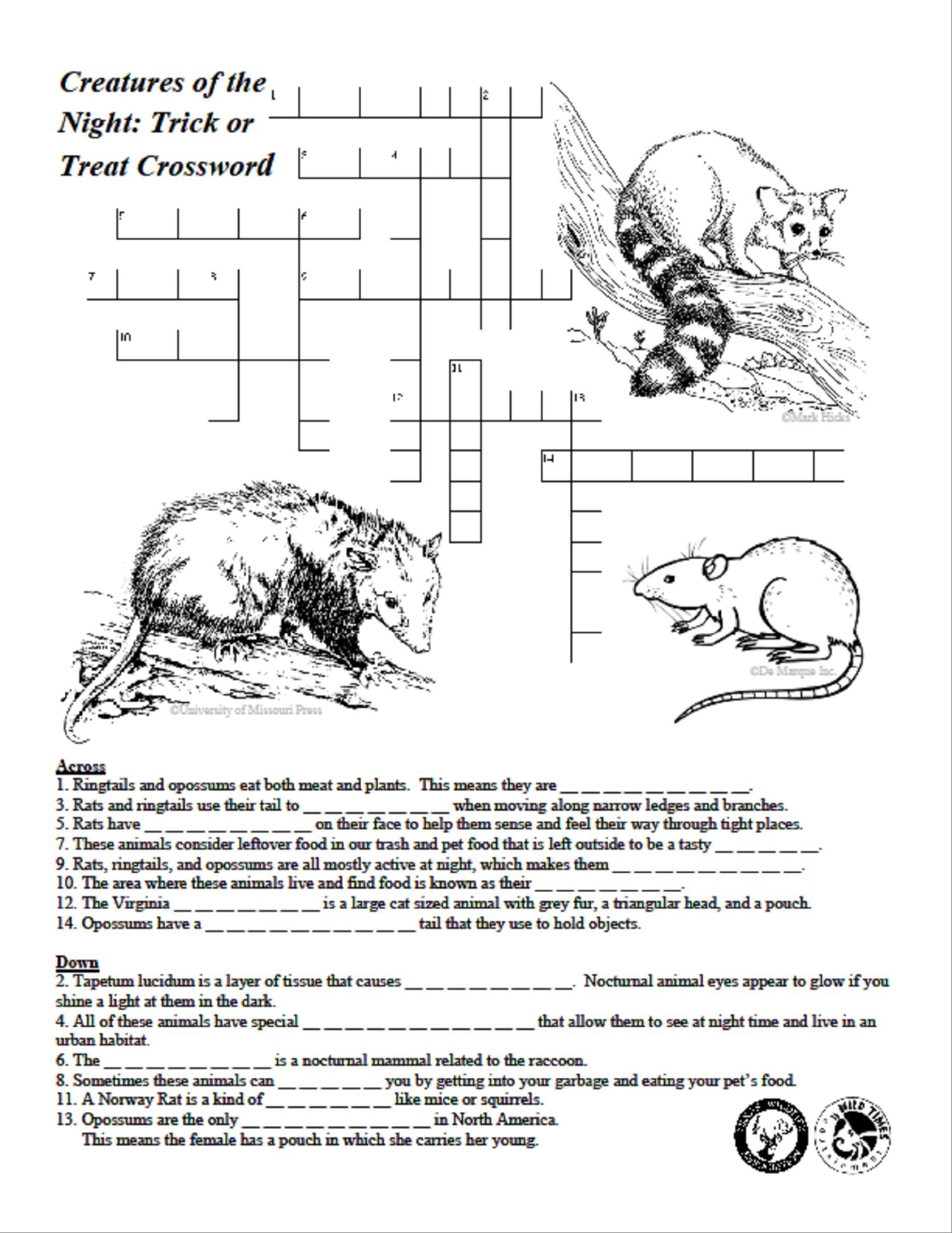 Creatures Of The Night Crossword Puzzle