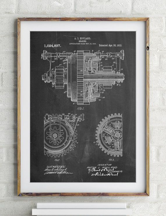 Mechanical Gearing 1912 Patent Poster Industrial Art Etsy Industrial Art Engineering Gifts Art