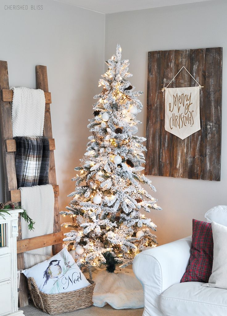 Flocked White Christmas Tree Farmhouse Love White