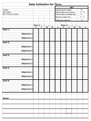 data sheet template to track progress toward iep goals from special education meets general. Black Bedroom Furniture Sets. Home Design Ideas