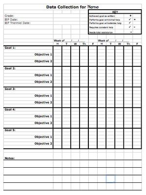 Data Sheet Template To Track Progress Toward Iep Goals From