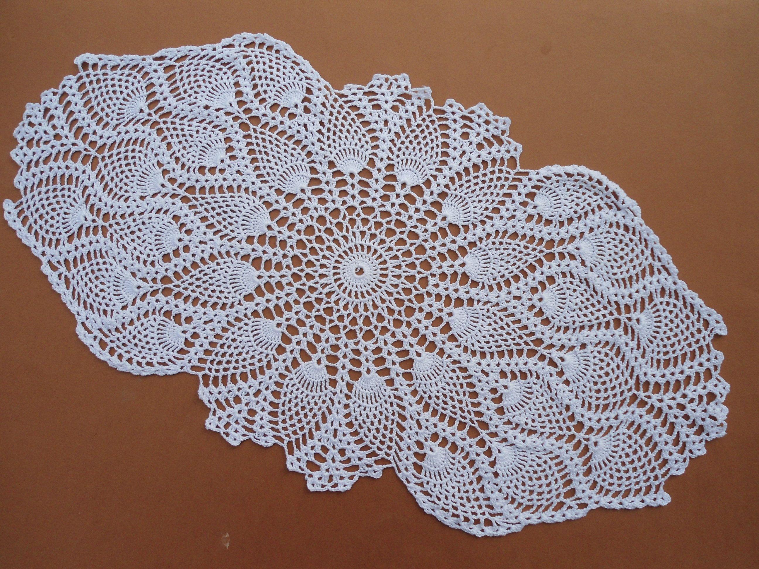 Oval crochet doily, crochet table runner, white crochet runner ...