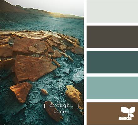 drought tones  How I see this: light blue for walls, brown for accent wall, dark blue bedsheets, super light blue curtains and dark gray door. It would be lovely.