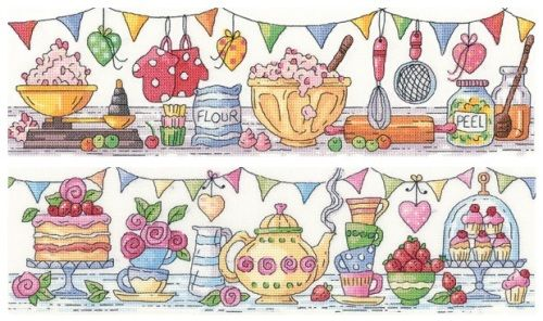 Ready Steady Bake & Afternoon Tea Set - cross stitch kits designed by Karen Carter for Heritage Crafts