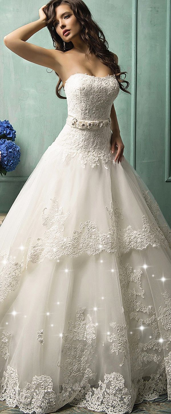 Lace ball gown wedding dresses  Glamorous Tulle u Lace Sweetheart Neckline Dropped Waistline Ball
