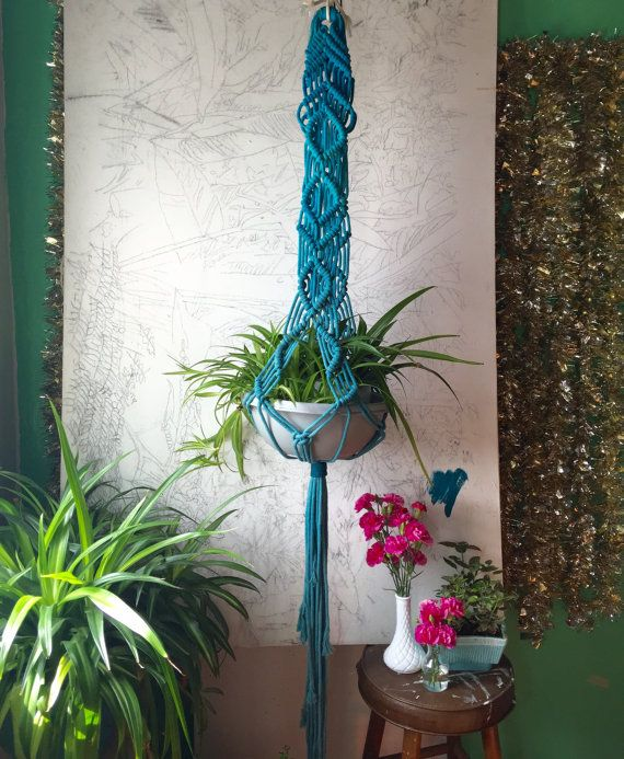 XL Macrame Plant Hanger long tail by SlowDownProductions on Etsy