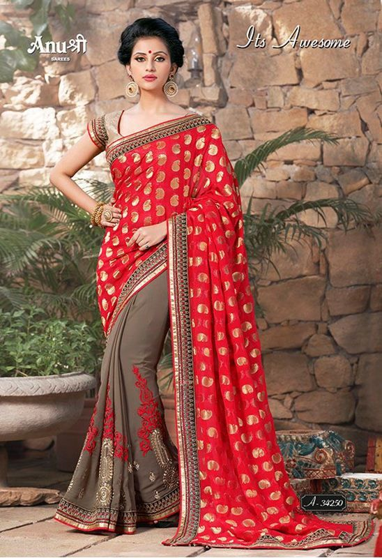 its awesome fancy party and wedding wear designer sarees, georgette reco jacquard with heavy multi patli embroidered sarees