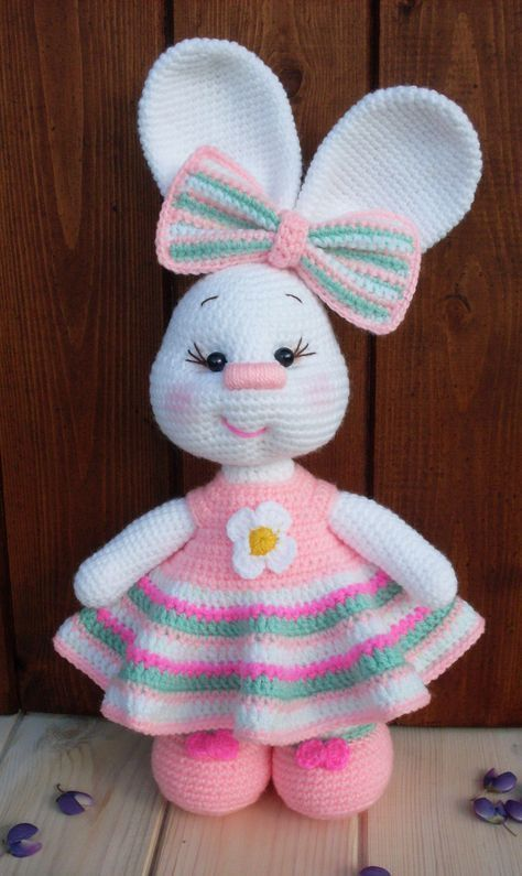 Pretty Bunny Amigurumi In Pink Dress Crochet Crafts