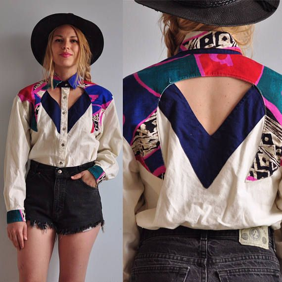 80s 90s Roughrider Cutout Western Button Front Shirt Cowboy Cowgirl Southwestern Abstract Festival Boho 90s Fashion Vintage Outfits Western Fashion