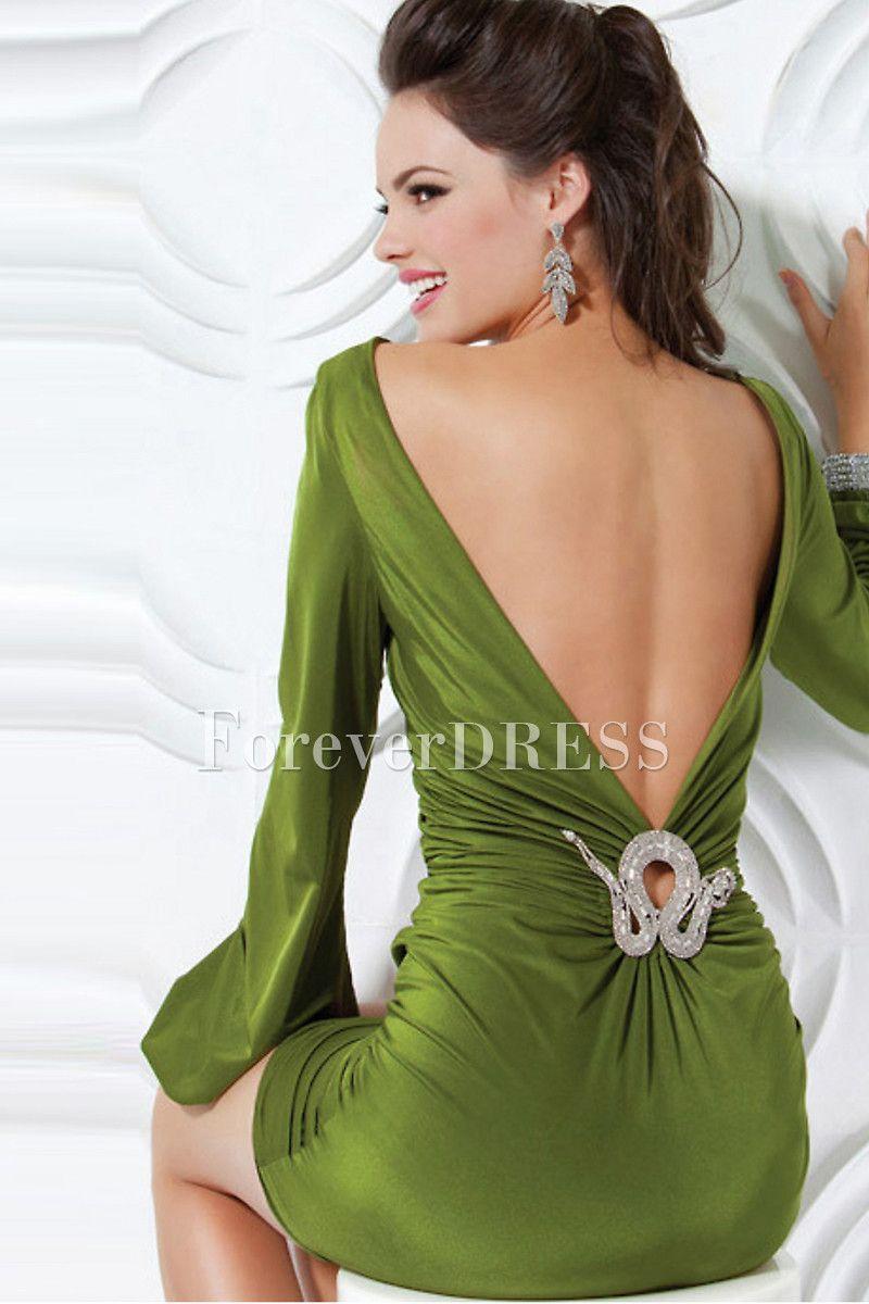 Long sleeve sheath backless short velvet evening dress what to