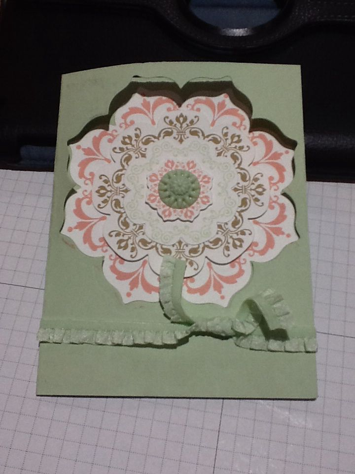 """February 2014 stamp camp.  Stampin' Up!, Daydreams Medallions stamp set, pistachio pudding 3/8"""" ruffle stretch trim, In Color Boutique Details, Floral Frames Collection (Framelits)."""