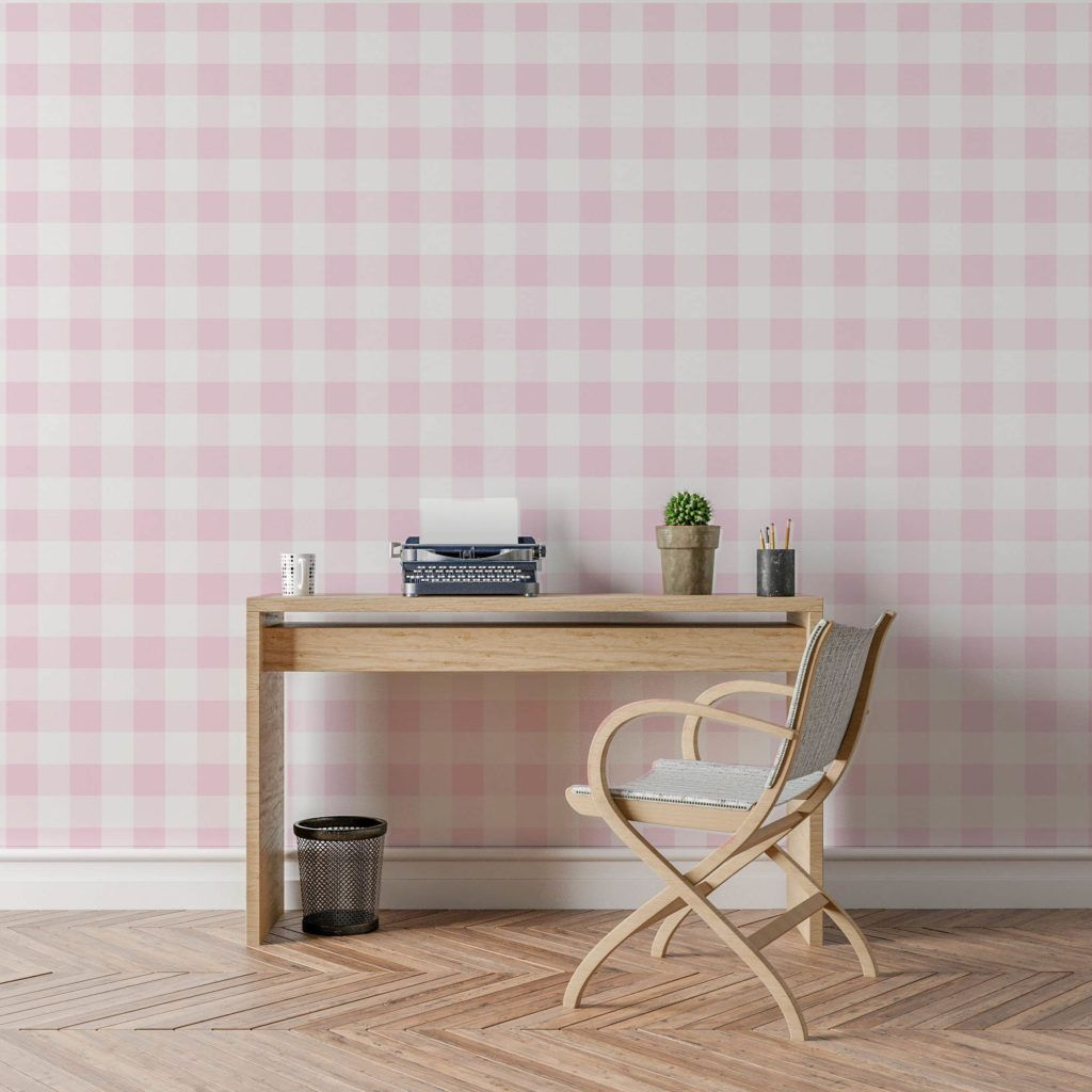 Celeste Pink Buffalo Check Wallpaper - The Project Nursery Shop
