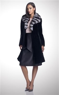 Dyed Black Sheared Mink Fur Coat with Chinchilla Collar #stylish #coat #fur #outwear at Flemington Furs - available online at FlemingtonFurs.com