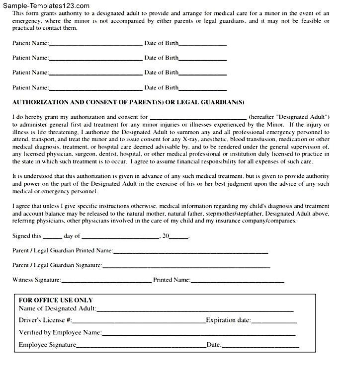 minor medical authorization letter sample templates child consent - free child medical consent form