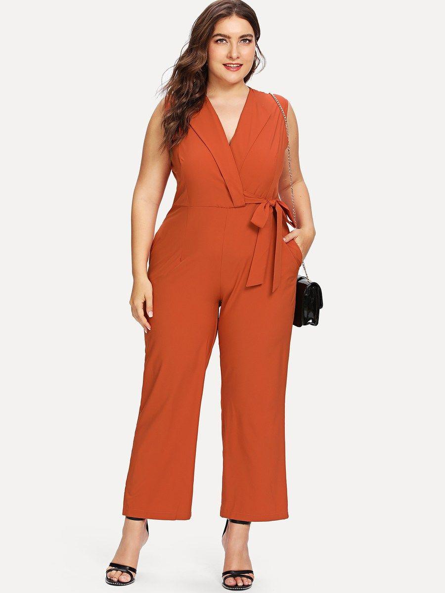 ee3608dc8d Plus Knot Side Jumpsuit -SheIn(Sheinside) | fashion in 2019 ...