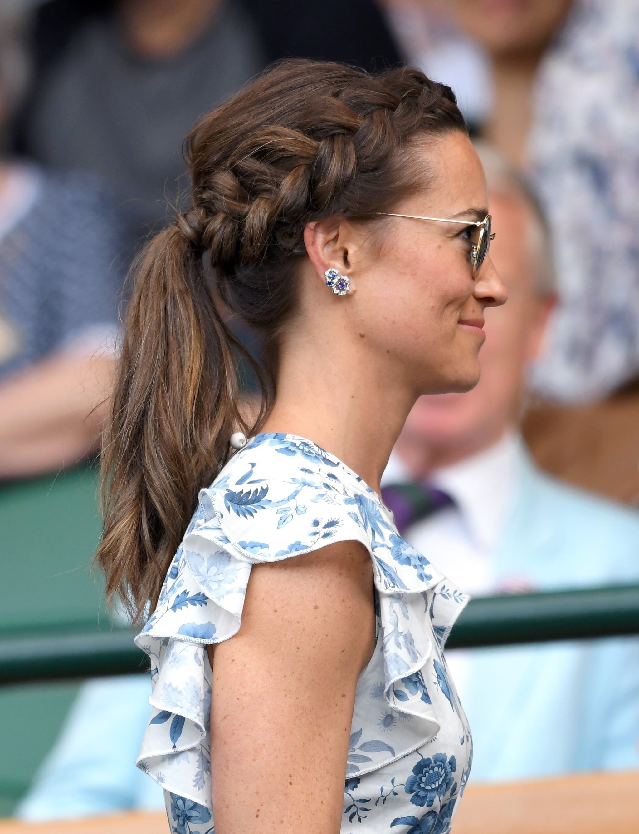 Pippa Middleton Rounds Out Our Favorite Wimbledon Trio In A Romantic Floral Dress Pippa Middleton Dress Kate Middleton Hair Hair Styles