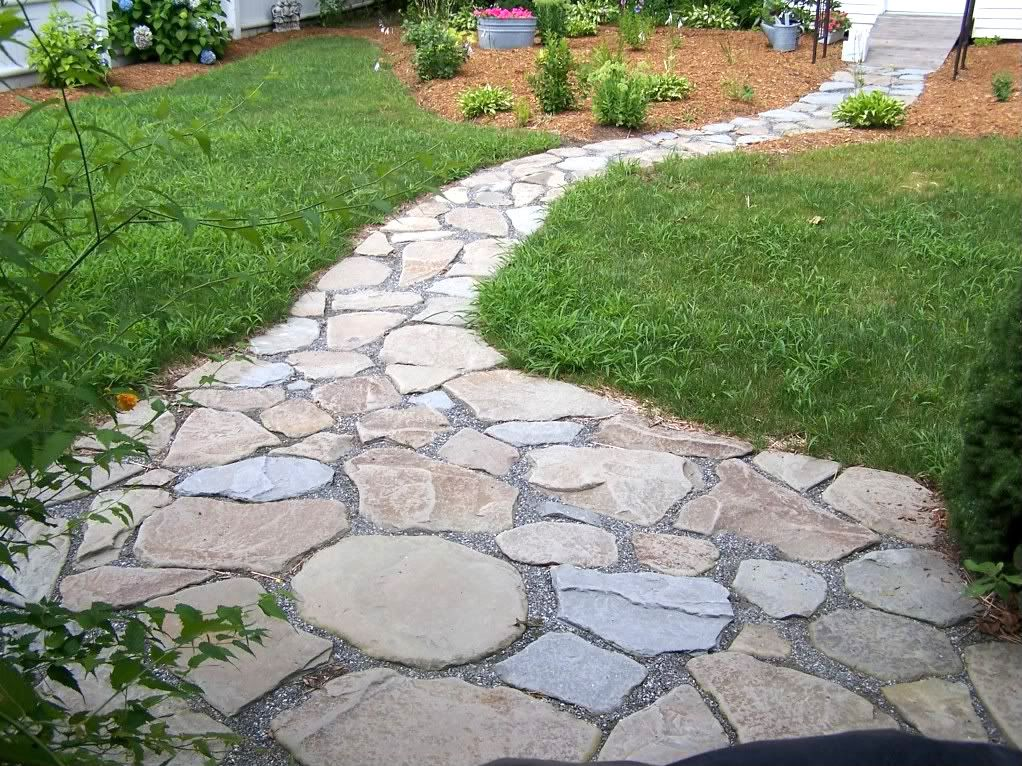 river rock walkway and patio...love | River rock patio ... on Rock And Stone Outdoor Living id=87681