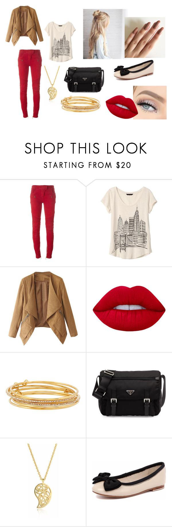 """Alexia Outfit 03"" by taylor-ross115 on Polyvore featuring Balmain, Banana Republic, Lime Crime, Kate Spade, Prada, Sonal Bhaskaran and Human Premium"