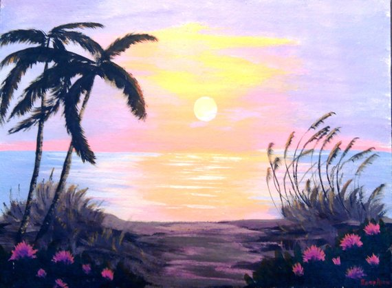 Contemporary painting acrylic, sunset sea, the evening sea breeze, bright colors, the beautiful sea