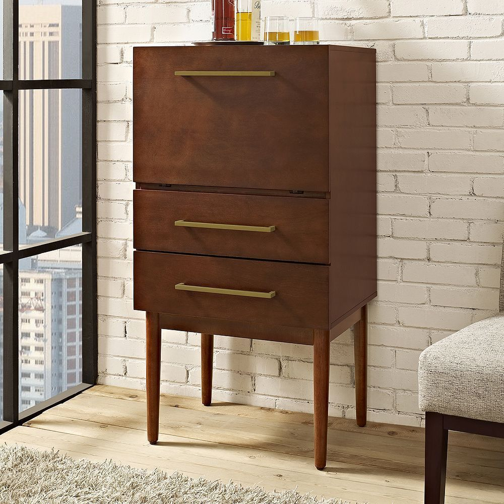 Stash all of your favorite mixers in the crosley everett spirit cabinet mahogany this beautiful piece of mid century modern inspired furniture is