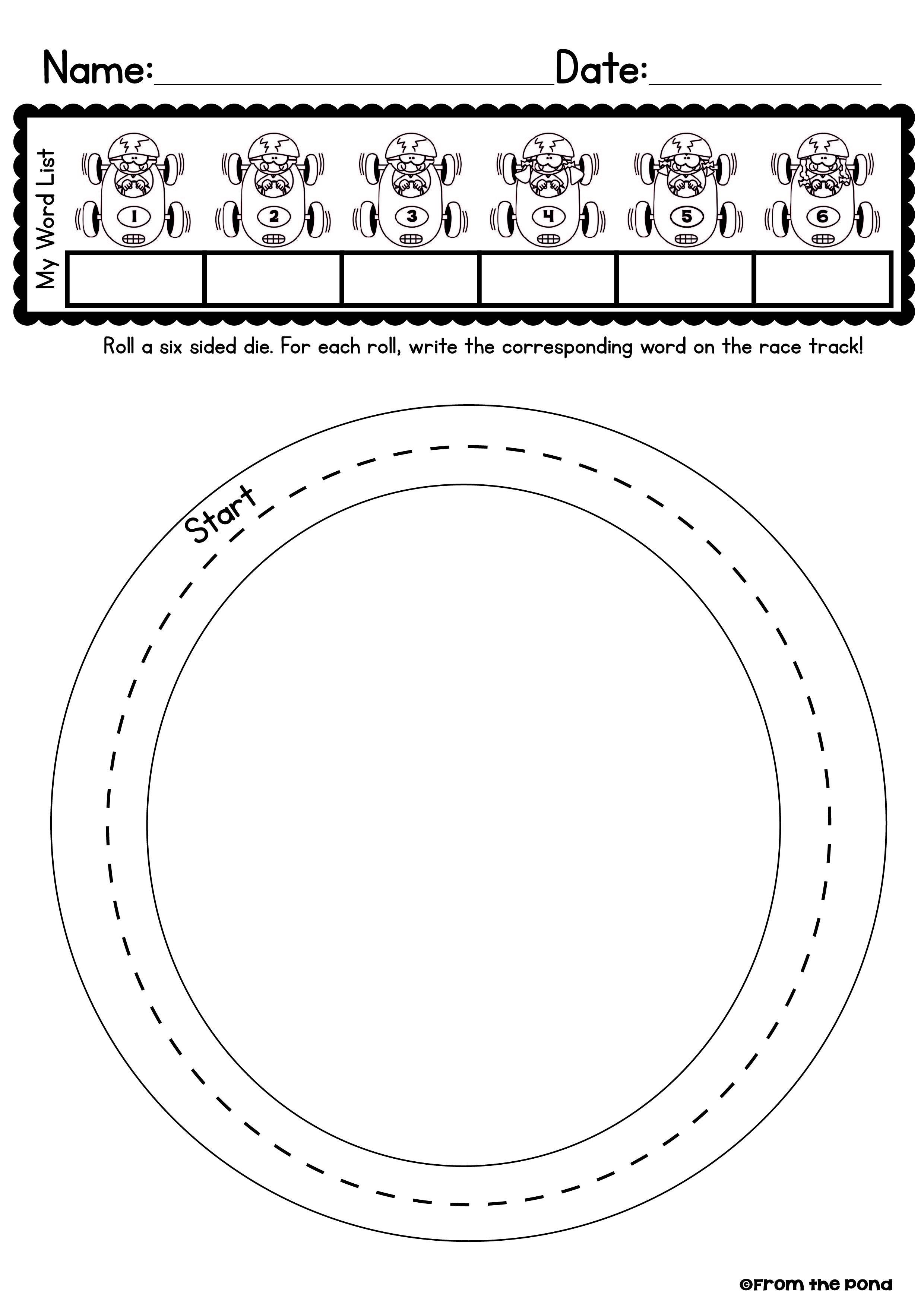 Roll And Race Worksheet Freebie Spelling Activities Teaching Spelling Sight Words Kindergarten [ 3508 x 2480 Pixel ]