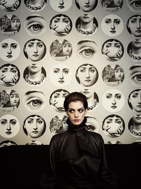 Anne Hathaway with prints by Italian artist Fornasetti, photographed by Kurt Iswarienko