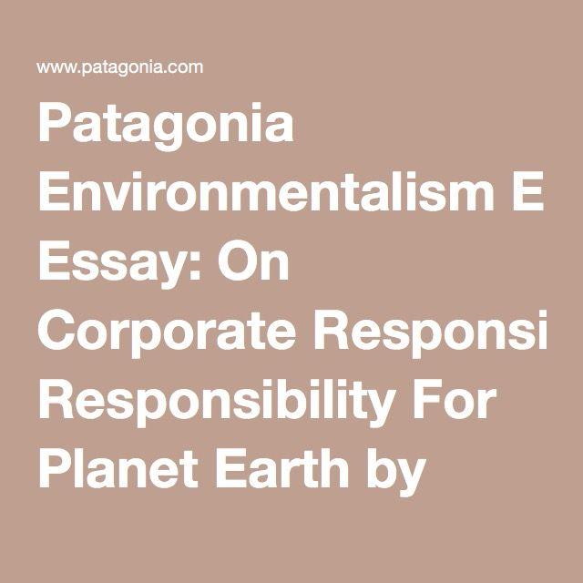 Patagonia Environmentalism Essay On Corporate Responsibility For  Patagonia Environmentalism Essay On Corporate Responsibility For Planet  Earth By Yvon Chouinard