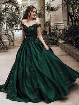 Best 12 fancy dresses Elegant Ball Gown Off-The-Shoulder Lace Satin Prom Dress