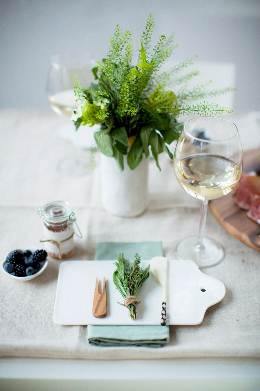 Spring place setting for dinner party