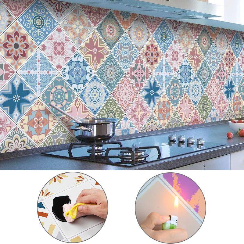 Oil Proof Fireproof Waterproof Wallpaper Roll For Kitchen Wall Desktop Cabinet Bohemia Decorative Self Adhesive Pape Wallpaper Roll Kitchen Wall Adhesive Paper