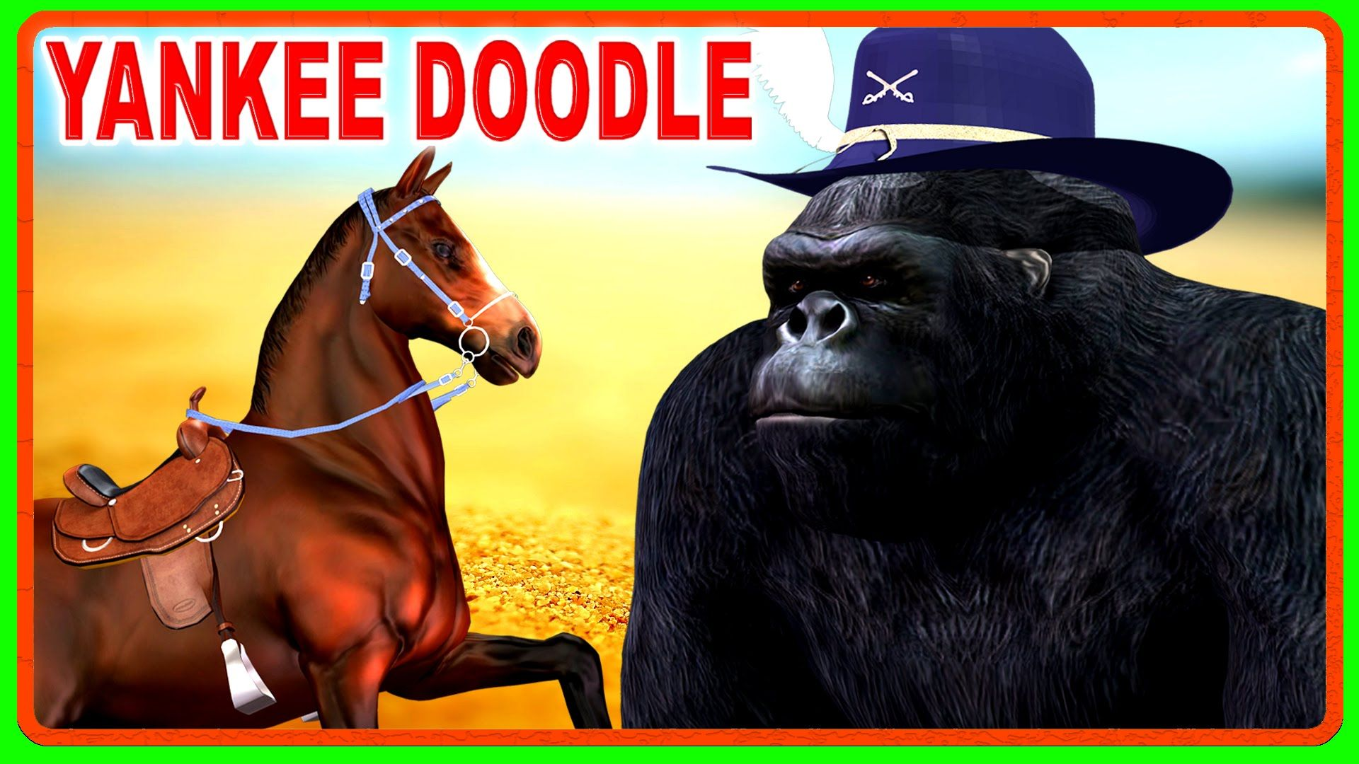 King Kong Gorilla Riding On Horse Singing Nursery Rhymes
