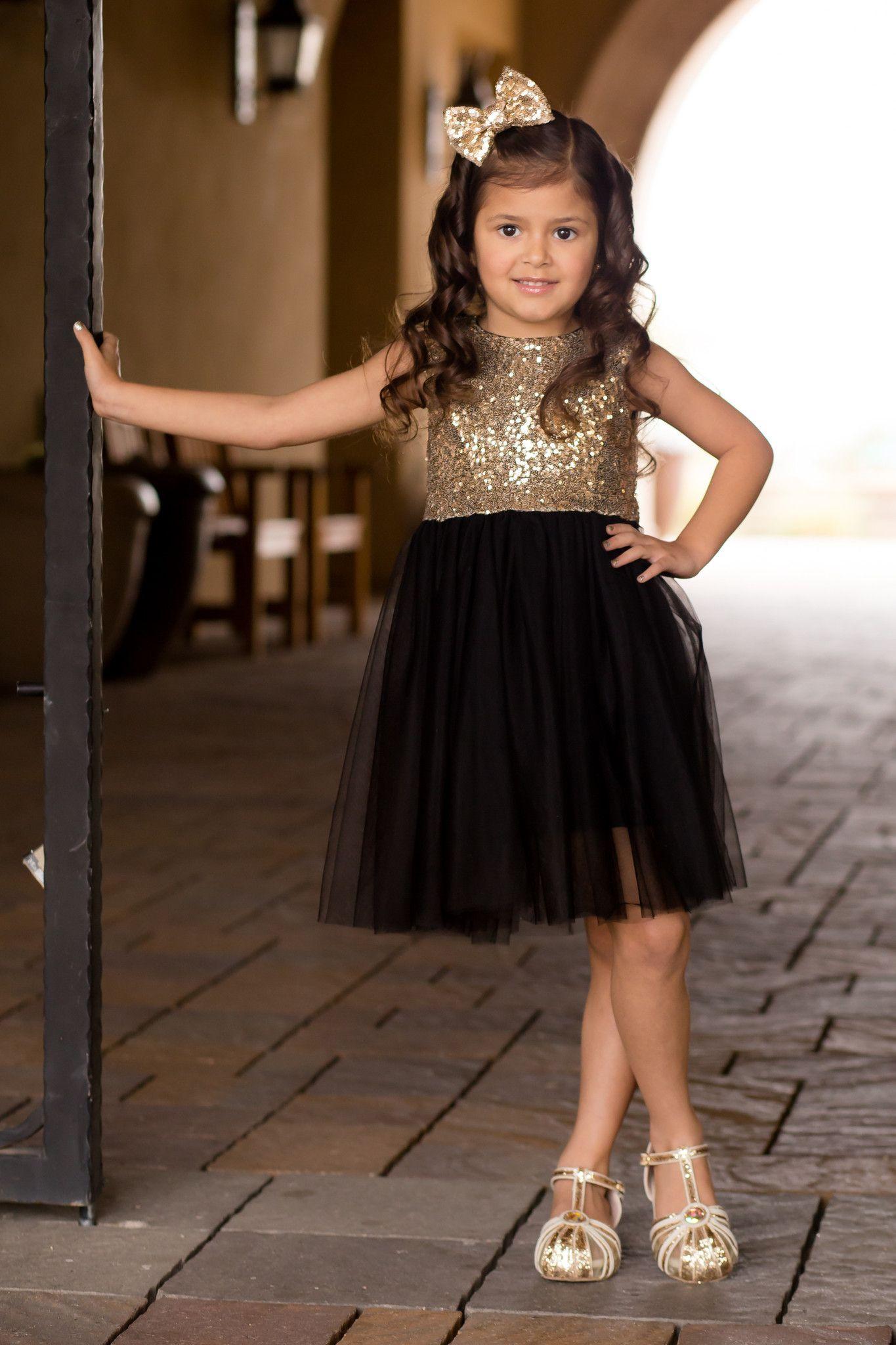 Black and Gold Sequin Dress Birthday girl dress