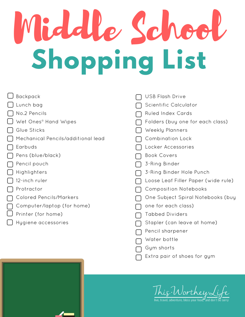 24017d84a502 Back To School Shopping List for Middle School Students. Download our FREE  printable on what teens will need for school!