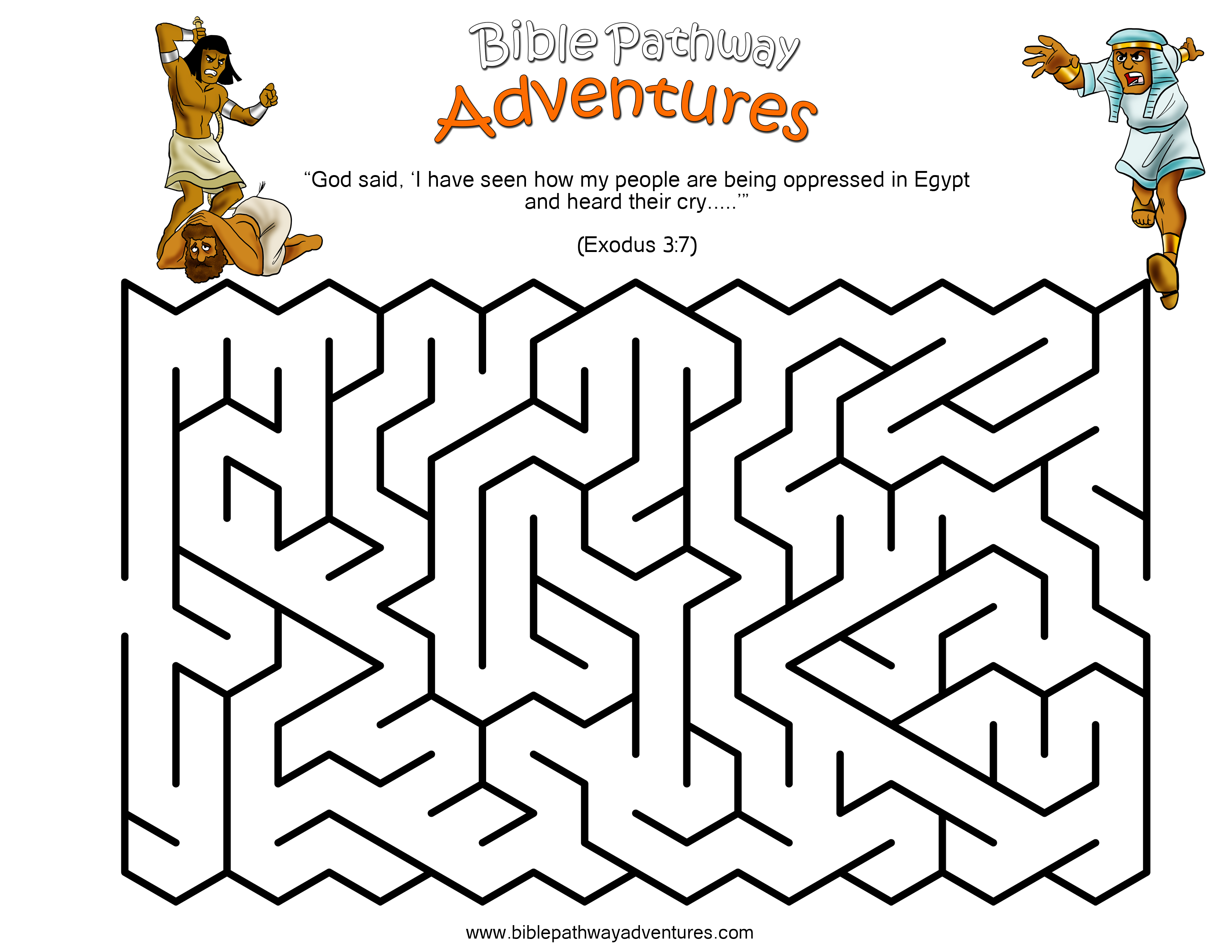 A maze activity sheet for kids from the story, Escape from Egypt ...