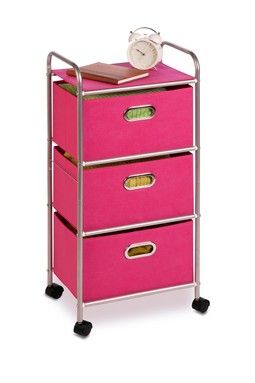 3 Drawer Pink Rolling Cart Will Hold Rollers Hair Products And Hair Styling Tools Can T Wait To Make My Own A Craft Room Storage Fabric Drawers Honey Can Do