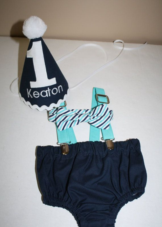 Teal And Navy Birthday Outfit 1 Boy First Cake Smash 1st Hat Suspenders Diaper Cover Bow Tie