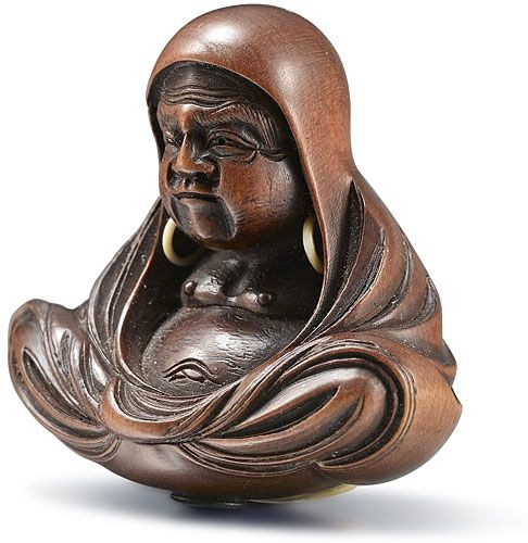 Japanese Netsuke Daruma in flowing robes