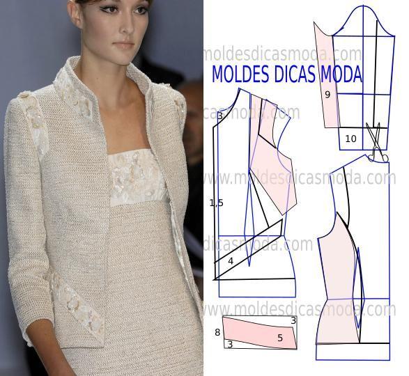 MOLDE CASACO COM BORDADO -22 | BLAZER CASACO E JAQUETAS | Pinterest ...