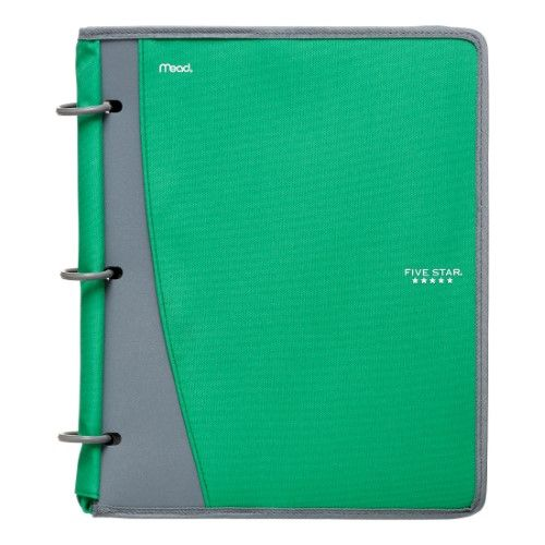 Five Star 1 Inch Flex Poly Zipper Binder, Green, 200 Sheet