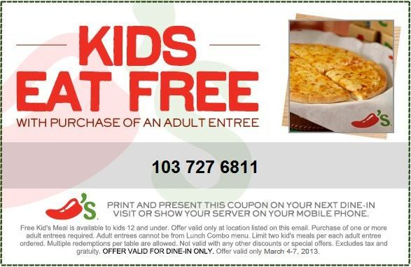 Chilis Coupon Promo Code From The Coupons App Kids Eat Free With An Adult At February