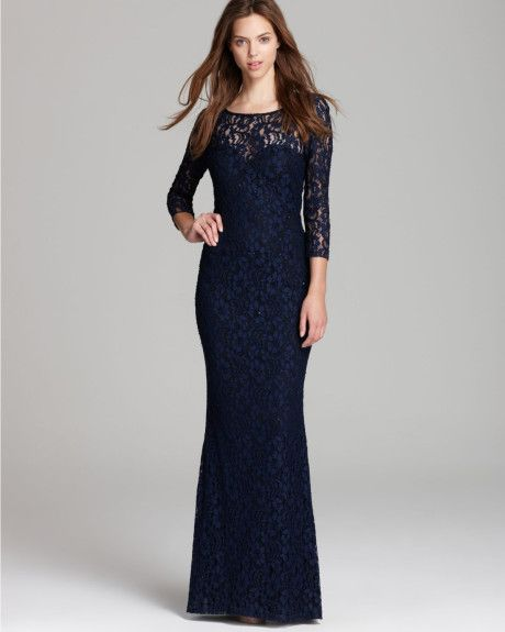 Women\'s Black Lace Gown Long Sleeve | Aidan mattox, Black lace gown ...