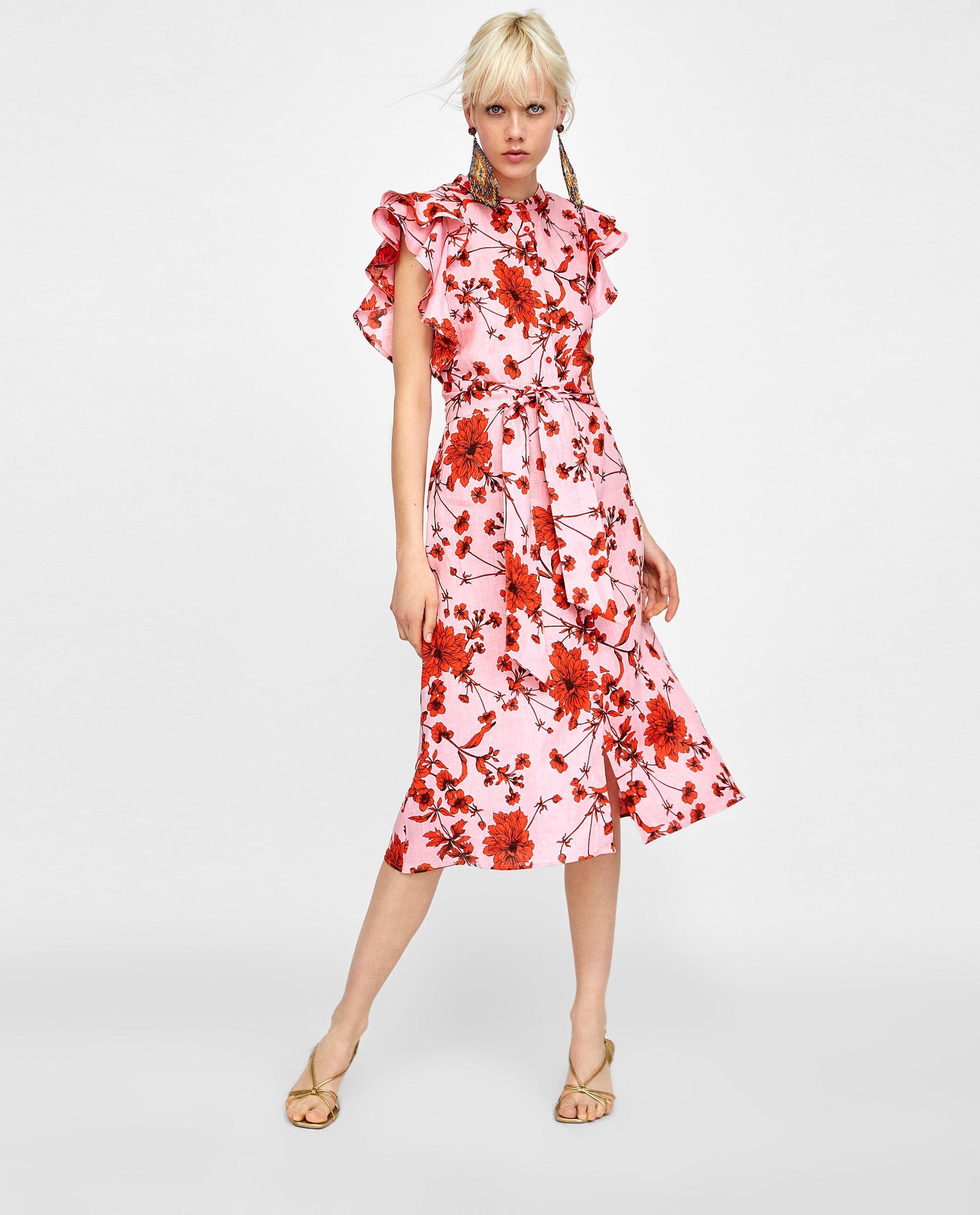 Lino Estampado In Túnica Dress 2019Red Floral Yf6vbI7yg