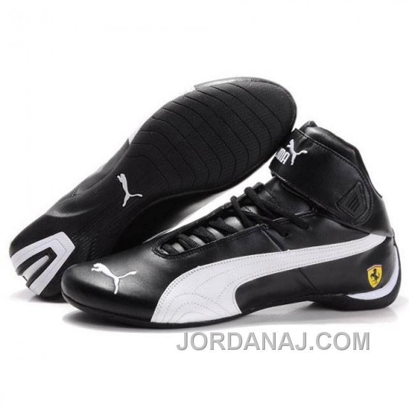 Puma Ferrari Mens High Tops Shoes Black White Free Shipping