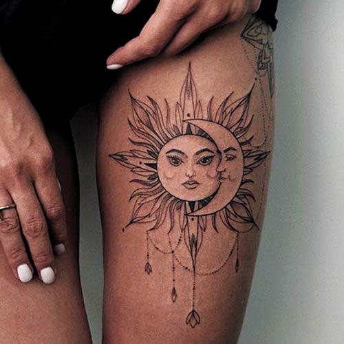 Photo of Sun and Moon Thigh Tattoos – Best Thigh Tattoos For Women: Cute Thigh Leg Tattoo…