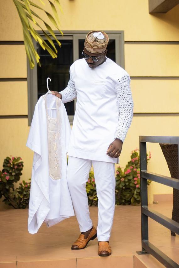 LUXURY W H I T A B A A D A avec I V O R Y E M B R O I D E R Y – AHOUSA HAT, Grooms Clothes, African Clothing, Mens Fashion, Ankara